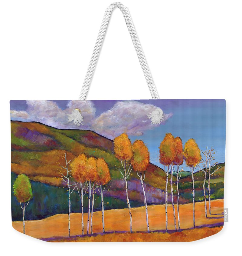Autumn Aspen Weekender Tote Bag featuring the painting Reminiscing by Johnathan Harris
