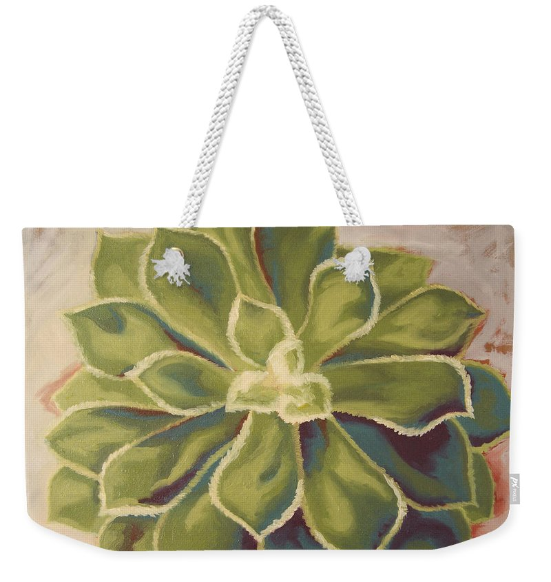 Succulent Weekender Tote Bag featuring the painting Renewed by Erin Fickert-Rowland