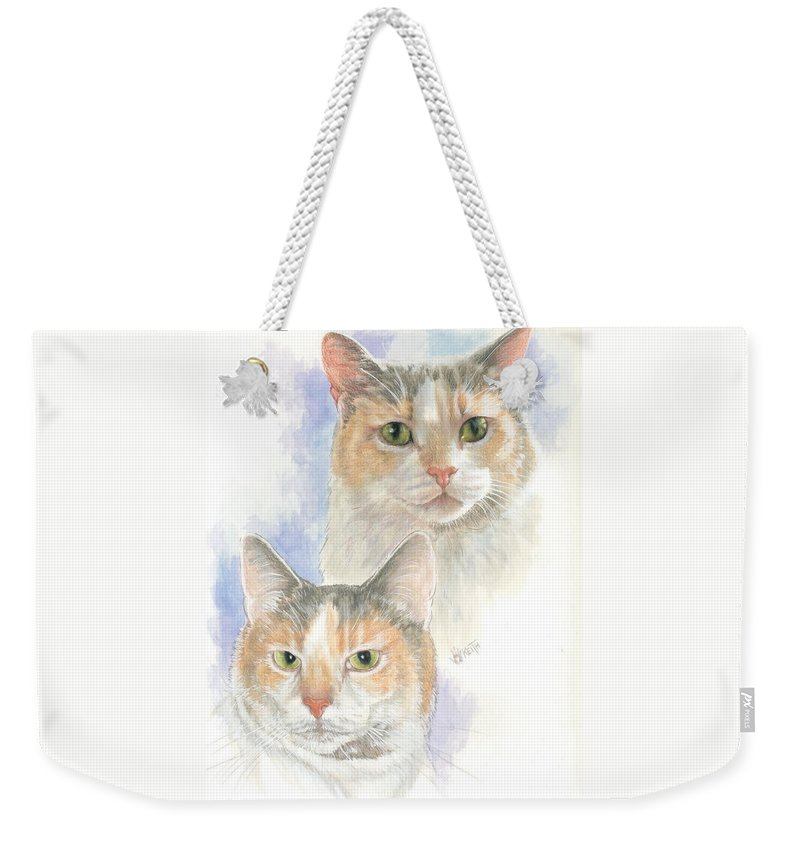 Domestic Cat Weekender Tote Bag featuring the mixed media Reno by Barbara Keith