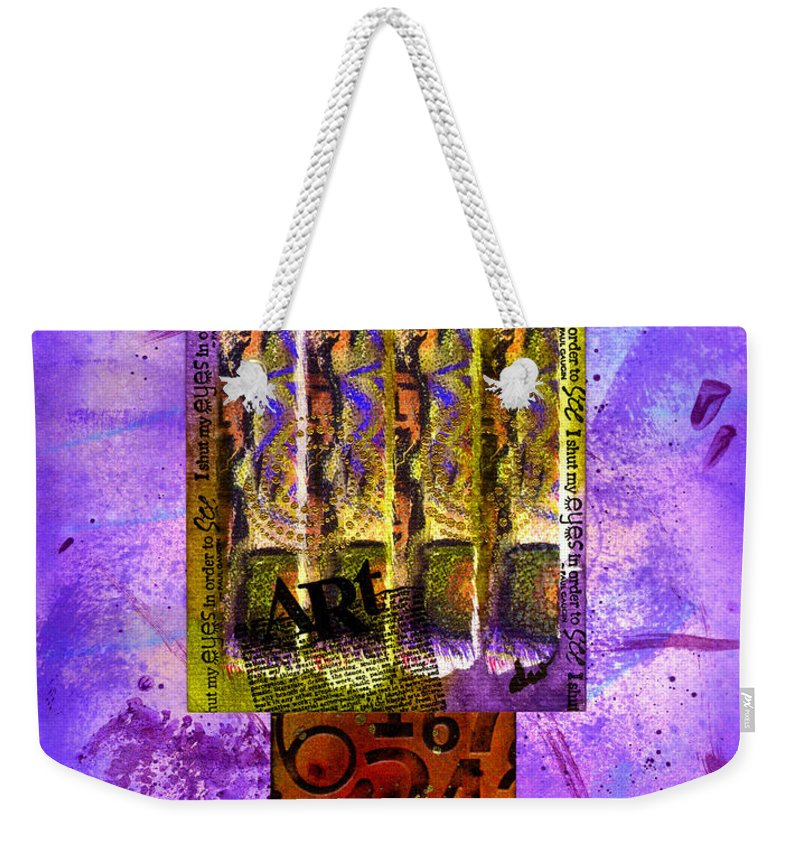 Quotes Weekender Tote Bag featuring the mixed media Repetition I by Angela L Walker
