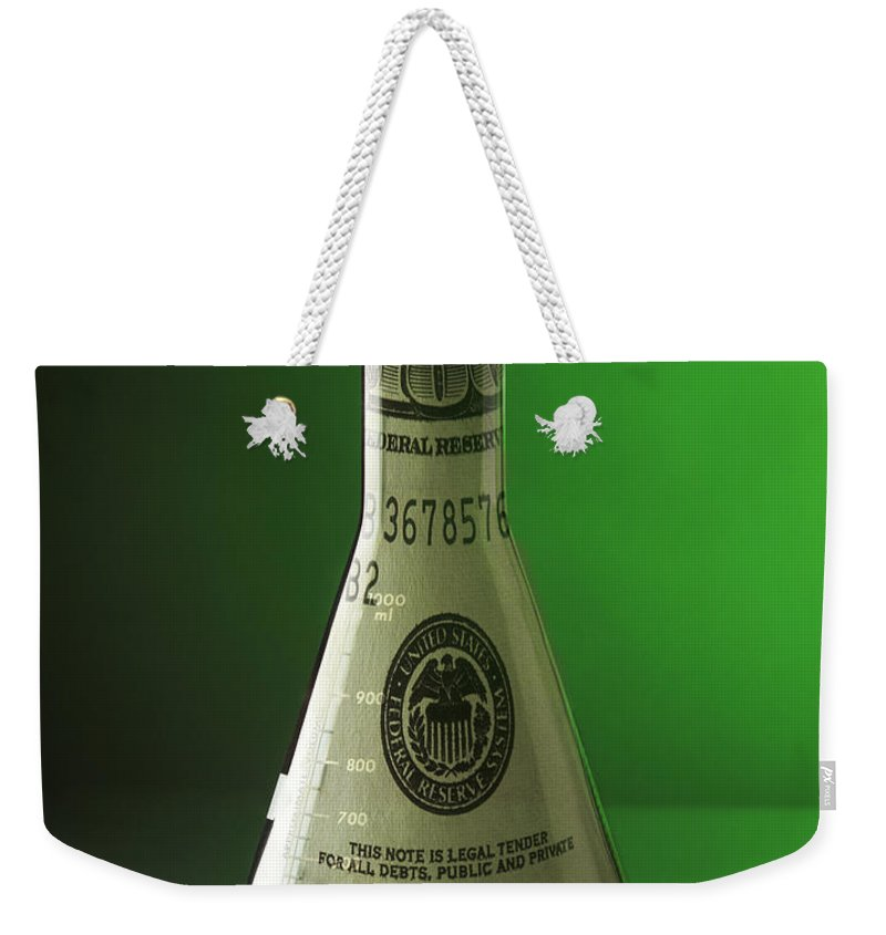 Glass Laboratory Flask Weekender Tote Bag featuring the photograph Research Funding by George Mattei