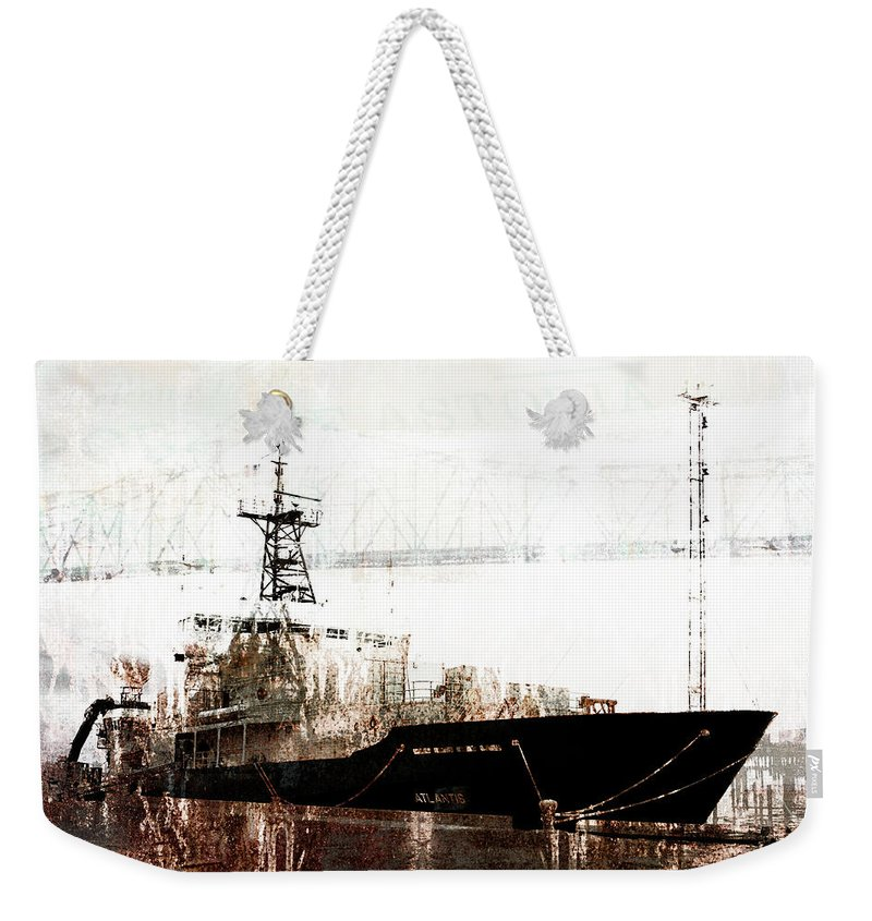 Ship Weekender Tote Bag featuring the mixed media Research Vessel Atlantis In Astoria Oregon by Carol Leigh