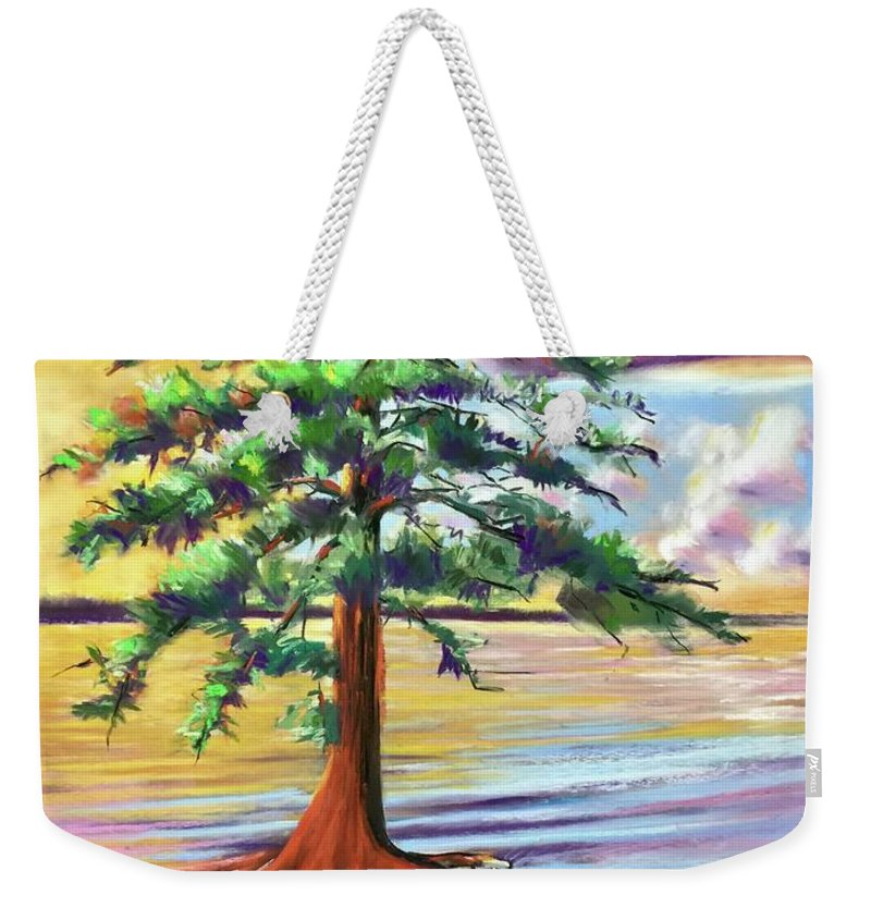 Cypress Weekender Tote Bag featuring the painting Resilient Cypress by Barbara Richert