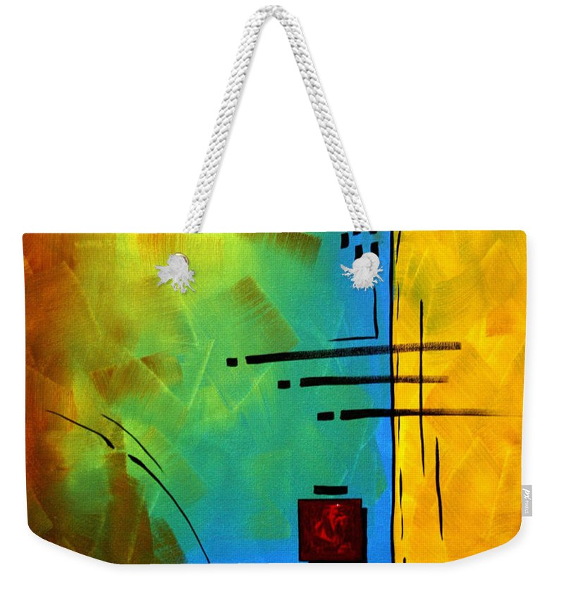 Abstract Weekender Tote Bag featuring the painting Resonating By Madart by Megan Duncanson