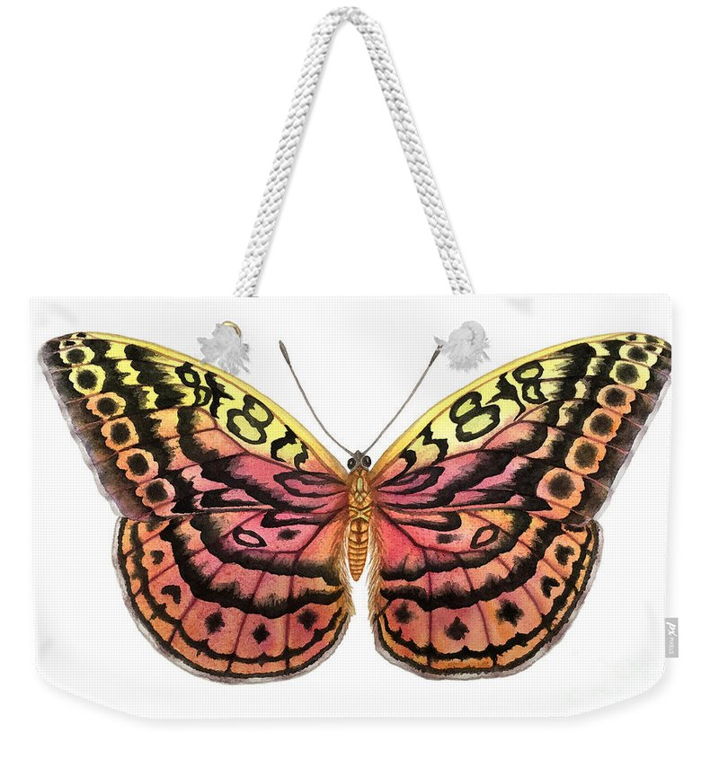 Butterfly Weekender Tote Bag featuring the painting Resplendent Forester Butterfly by Lucy Arnold
