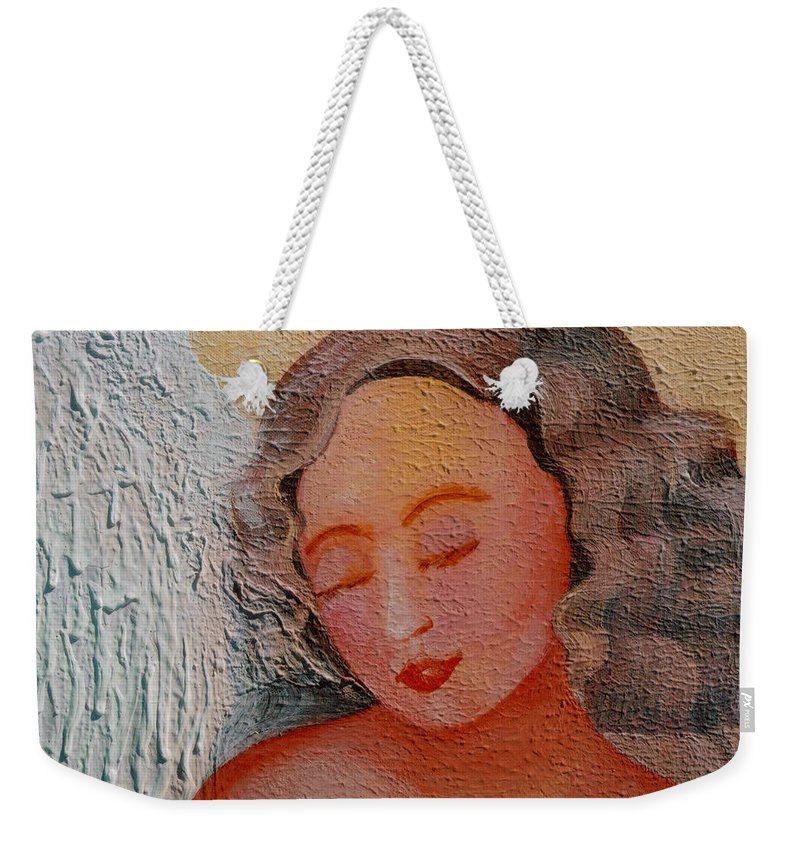 Angel Weekender Tote Bag featuring the painting Rest by Catt Kyriacou