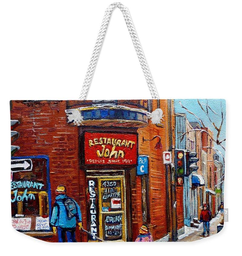 Restaurant John Montreal Weekender Tote Bag featuring the painting Restaurant John Montreal by Carole Spandau