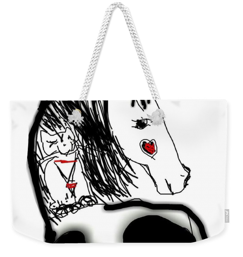 Horse Weekender Tote Bag featuring the digital art Resting Horse And Cat by Kathy Barney