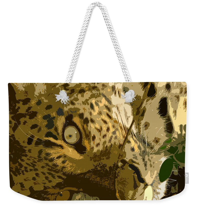 Leopard Weekender Tote Bag featuring the painting Resting Leopard by David Lee Thompson