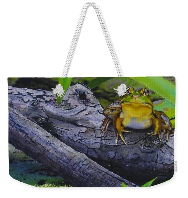 Frog Weekender Tote Bag featuring the painting Restingplace by Denny Bond