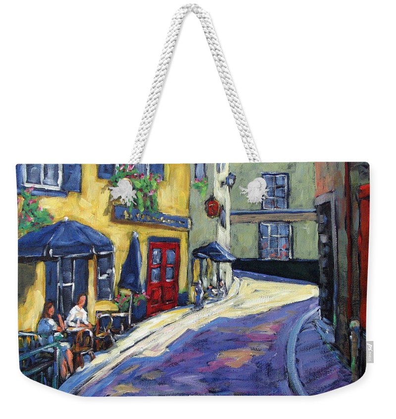 Restaurant Weekender Tote Bag featuring the painting Resto Le Cochon Dingue In Old Quebec by Richard T Pranke