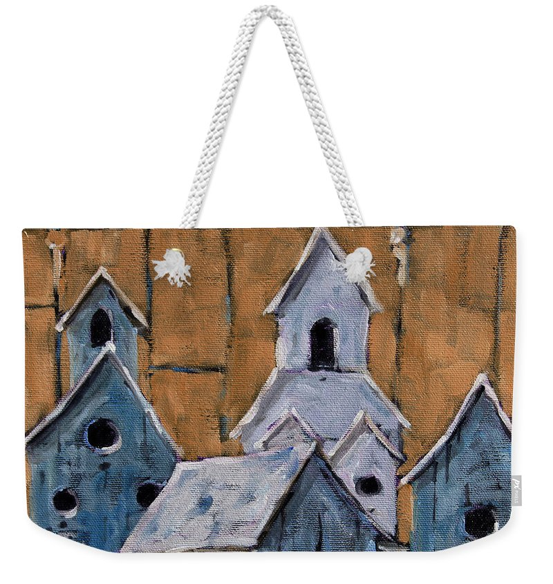 Art Weekender Tote Bag featuring the painting Retired Bird Houses By Prankearts Fine Arts by Richard T Pranke