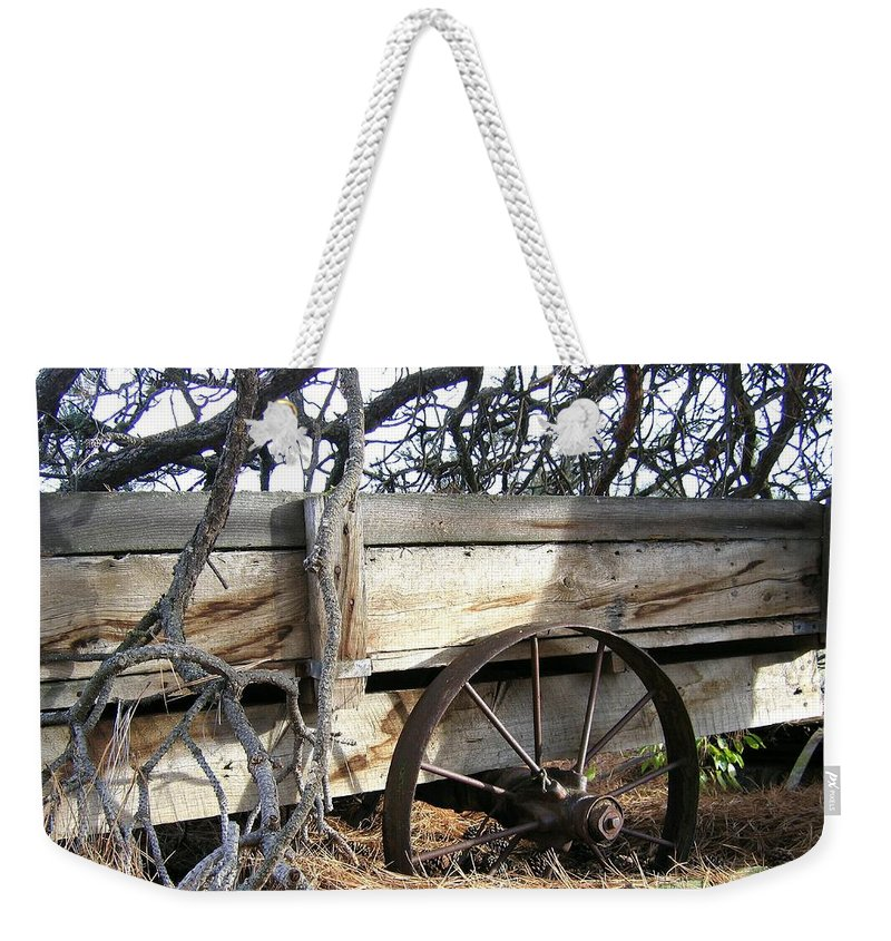 #retiredfarmwagon Weekender Tote Bag featuring the photograph Retired Farm Wagon by Will Borden