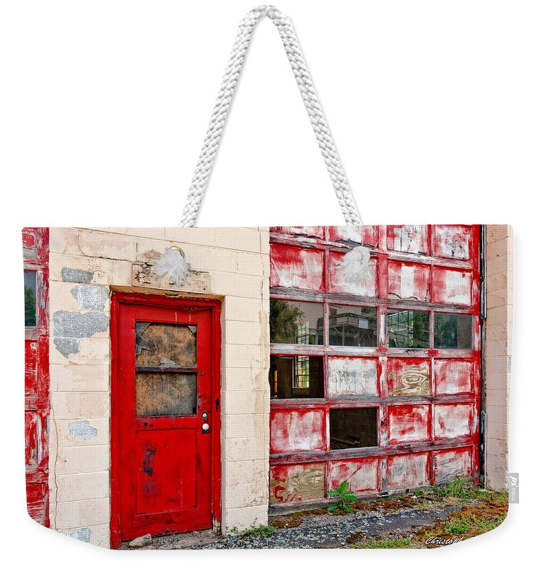 Christopher Holmes Photography Weekender Tote Bag featuring the photograph Retired Garage by Christopher Holmes