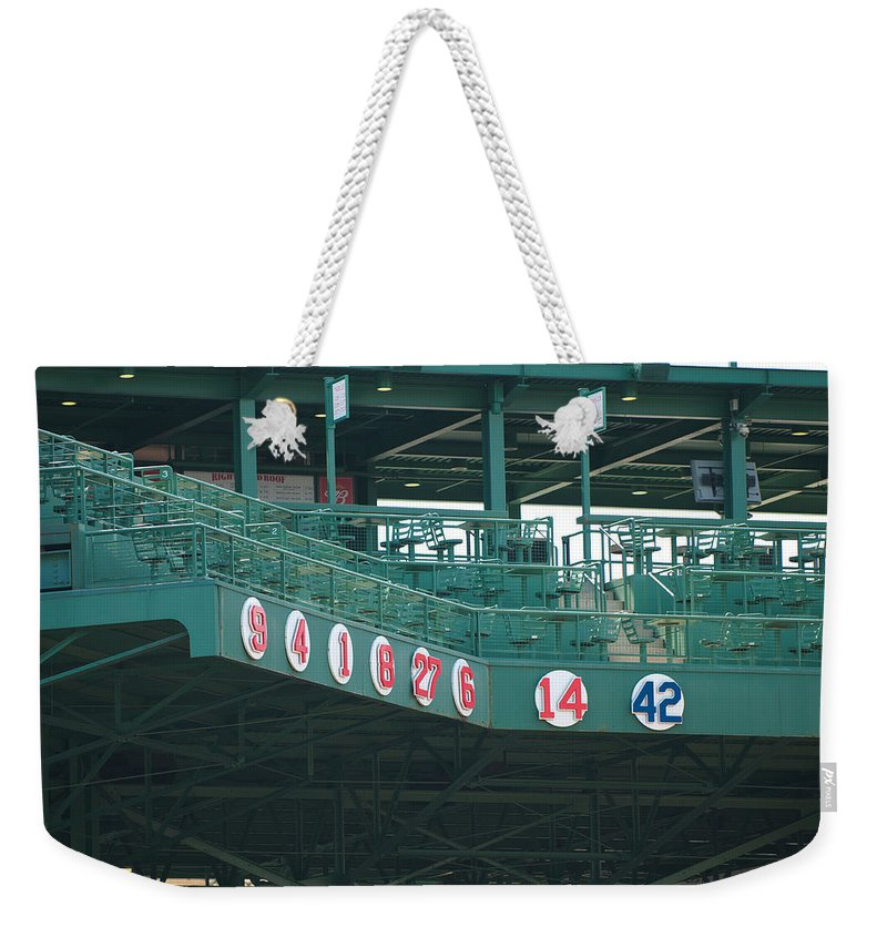 boston Red Sox Weekender Tote Bag featuring the Retired Numbers by Paul Mangold