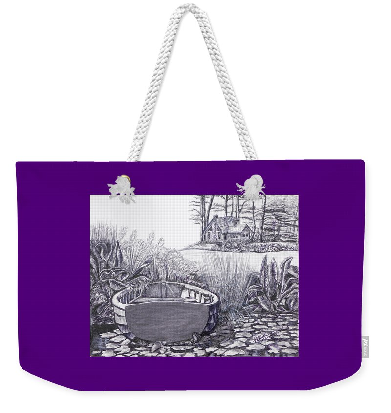 Cabin Weekender Tote Bag featuring the drawing Retreat by Elly Potamianos