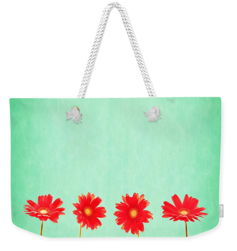 Daisy Weekender Tote Bag featuring the photograph Retro Flowers by Delphimages Photo Creations
