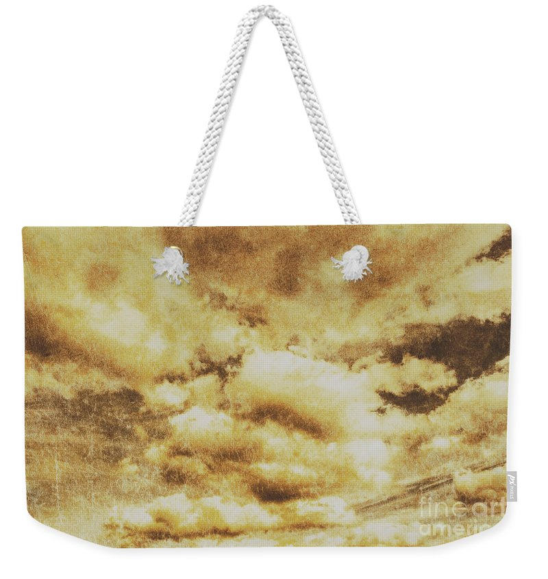 Dramatic Weekender Tote Bag featuring the photograph Retro Grunge Cloudy Sky Background by Jorgo Photography - Wall Art Gallery
