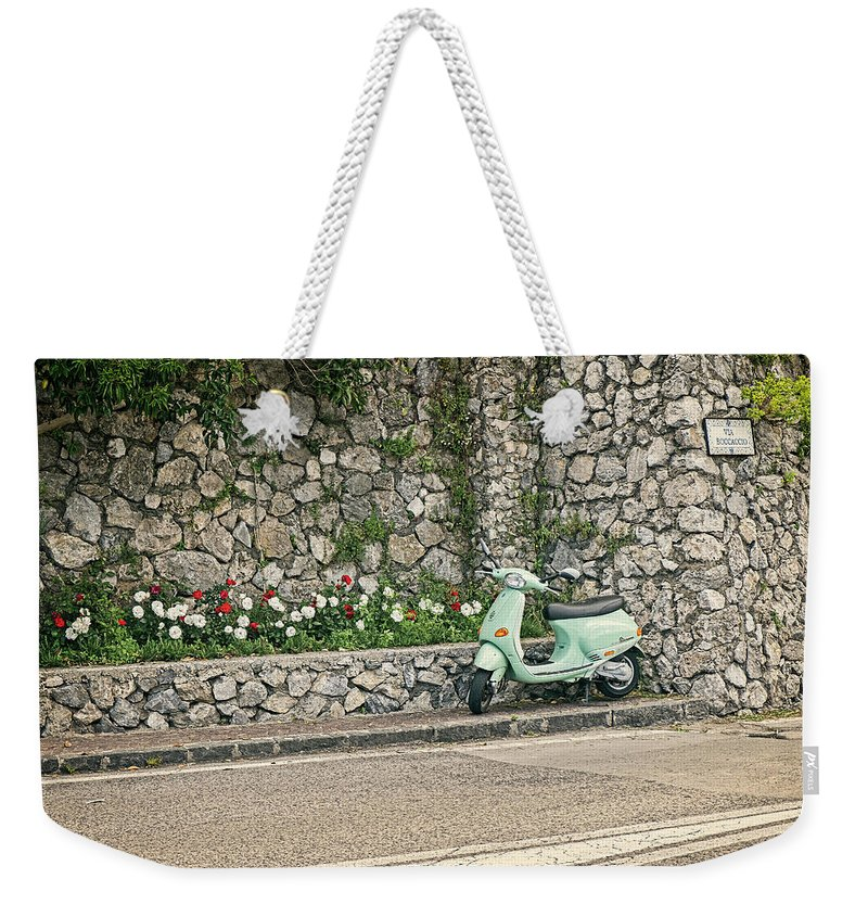 Scooter Weekender Tote Bag featuring the photograph Retro Italian Scooter by Catherine Reading