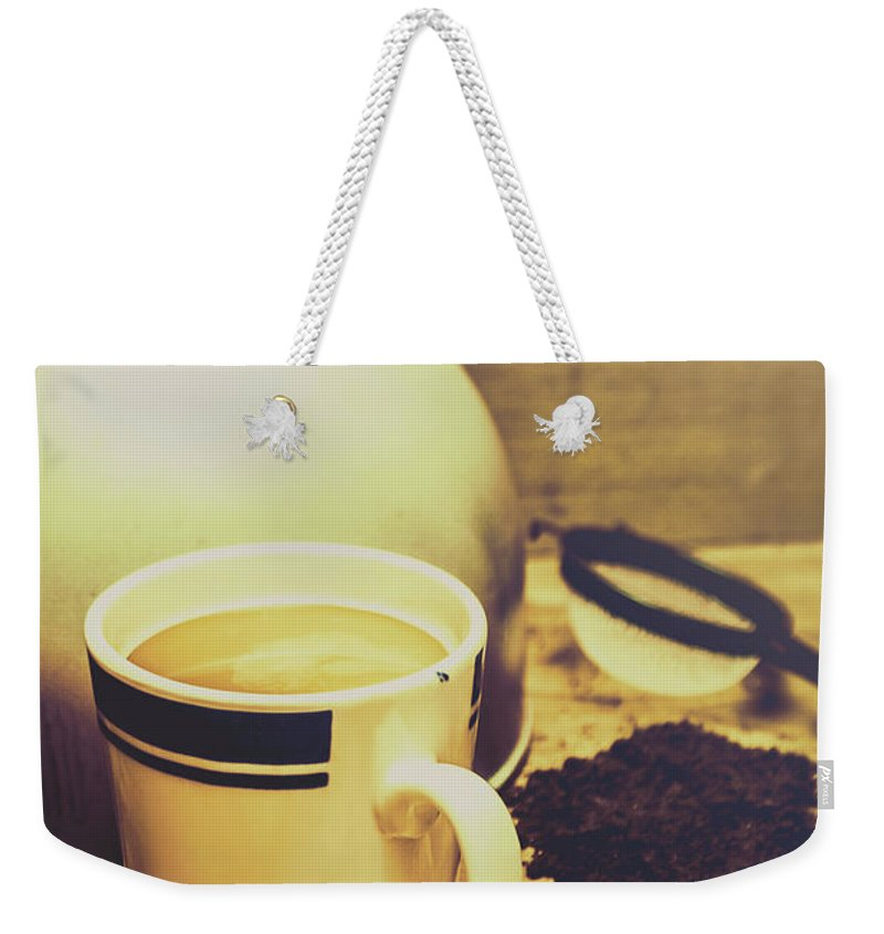 Kettle Weekender Tote Bag featuring the photograph Retro Kettle With The Mug Of Tea by Jorgo Photography - Wall Art Gallery