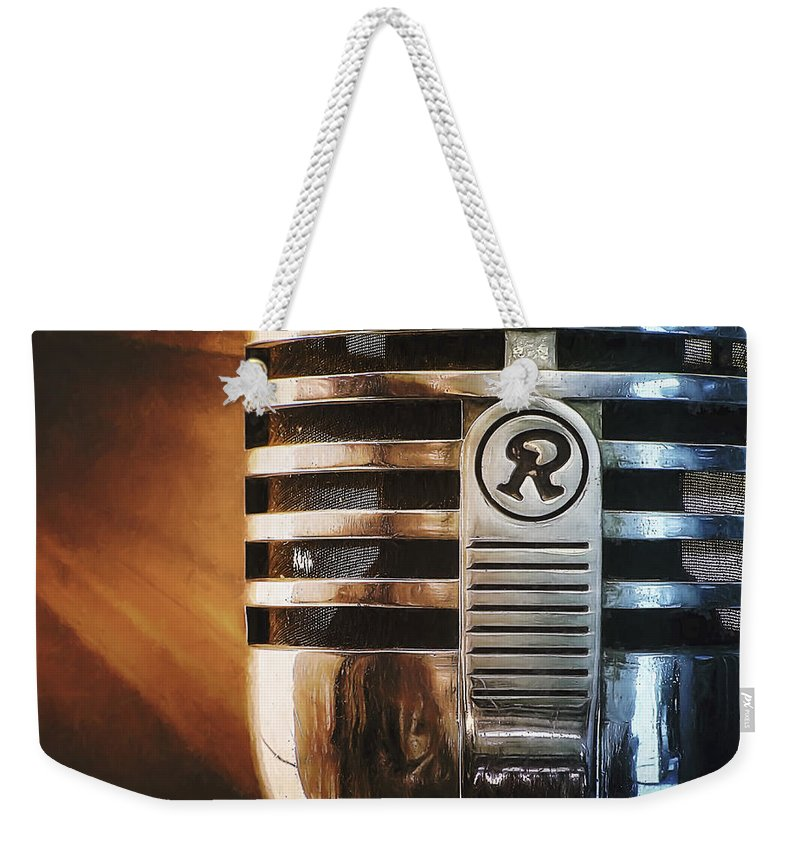 Mic Weekender Tote Bag featuring the photograph Retro Microphone by Scott Norris