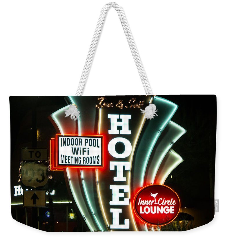 Retro Weekender Tote Bag featuring the photograph Retro Neon by Stephen Whalen