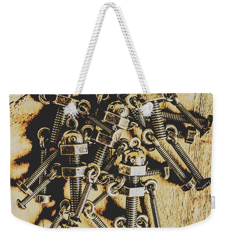 Robots Weekender Tote Bag featuring the photograph Retro Robot Recruits by Jorgo Photography - Wall Art Gallery