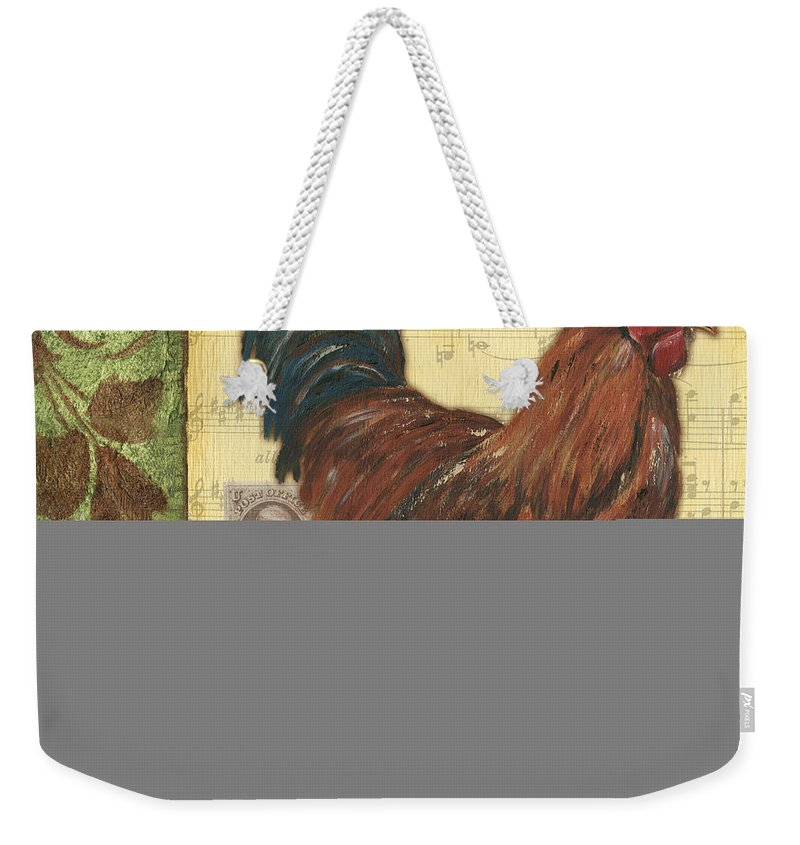 Rooster Weekender Tote Bag featuring the painting Retro Rooster 2 by Debbie DeWitt