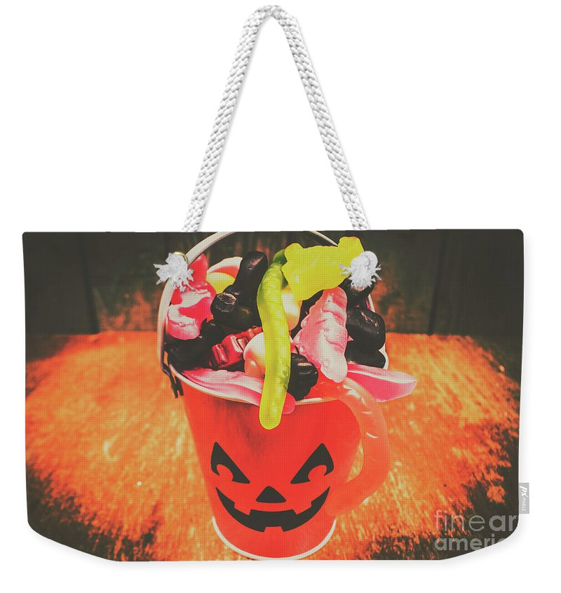 Candy Weekender Tote Bag featuring the photograph Retro Trick Or Treat Pumpkin Head by Jorgo Photography - Wall Art Gallery