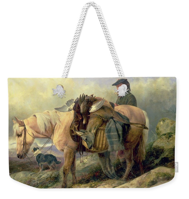 Pony; Brace; Grouse; Pipe; Deer; Hunt; Hunting; Hunter; Dog; Scotland; Scotsman; Highlands; Stag; Loaded; Horse; Beret; Blanket; Kilt; Rainclouds Weekender Tote Bag featuring the painting Returning From The Hill by Richard Ansdell
