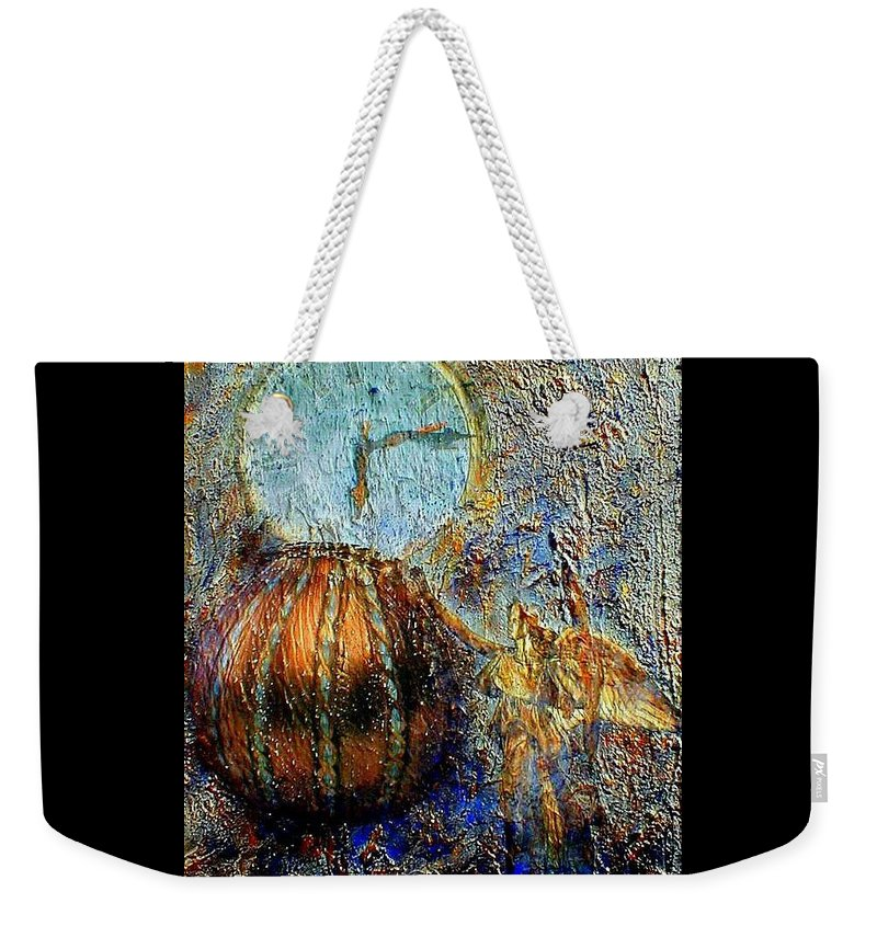 Christian Weekender Tote Bag featuring the mixed media Revelation by Gail Kirtz