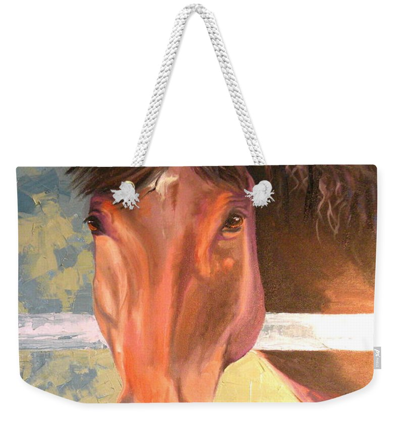 Horse Weekender Tote Bag featuring the painting Reverie - Quarter Horse by Susan A Becker