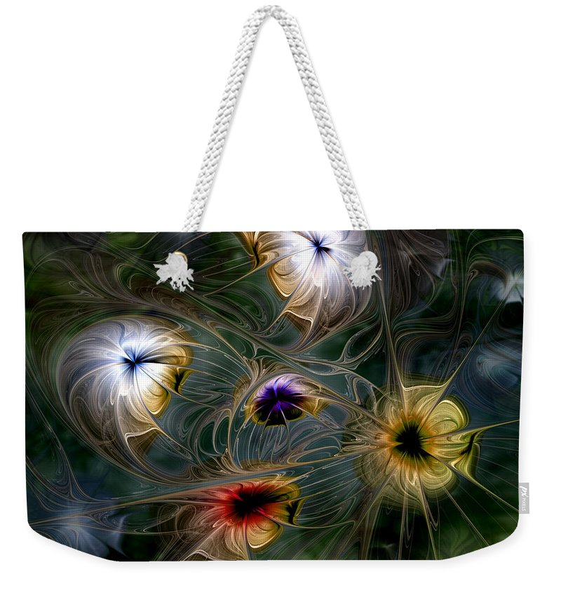 Abstract Weekender Tote Bag featuring the digital art Revival by Casey Kotas