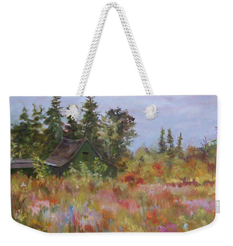 Foliage Weekender Tote Bag featuring the painting Revolutionary Barn by Alicia Drakiotes