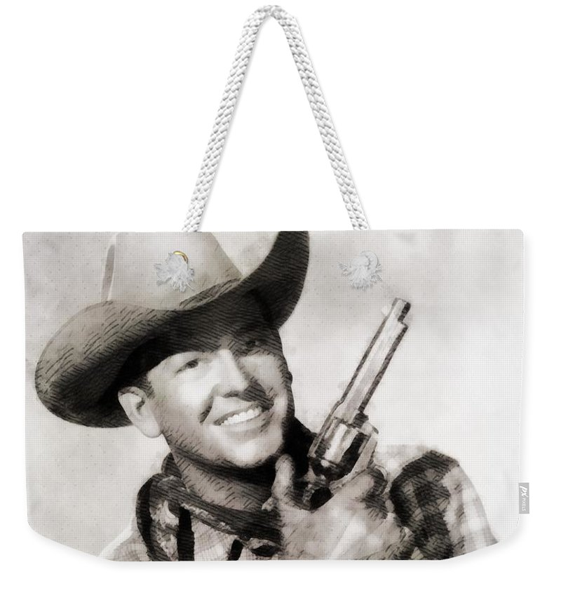 Hollywood Weekender Tote Bag featuring the painting Rex Allen, Vintage Actor by John Springfield