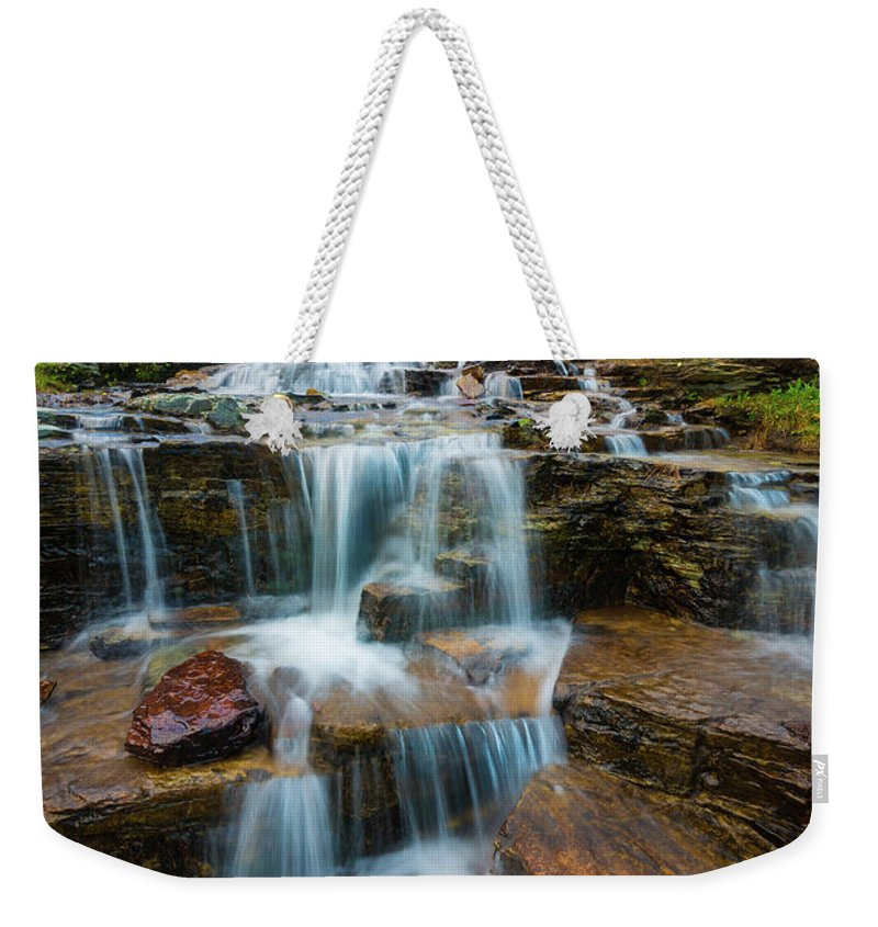 America Weekender Tote Bag featuring the photograph Reynolds Mountain Waterfall by Inge Johnsson