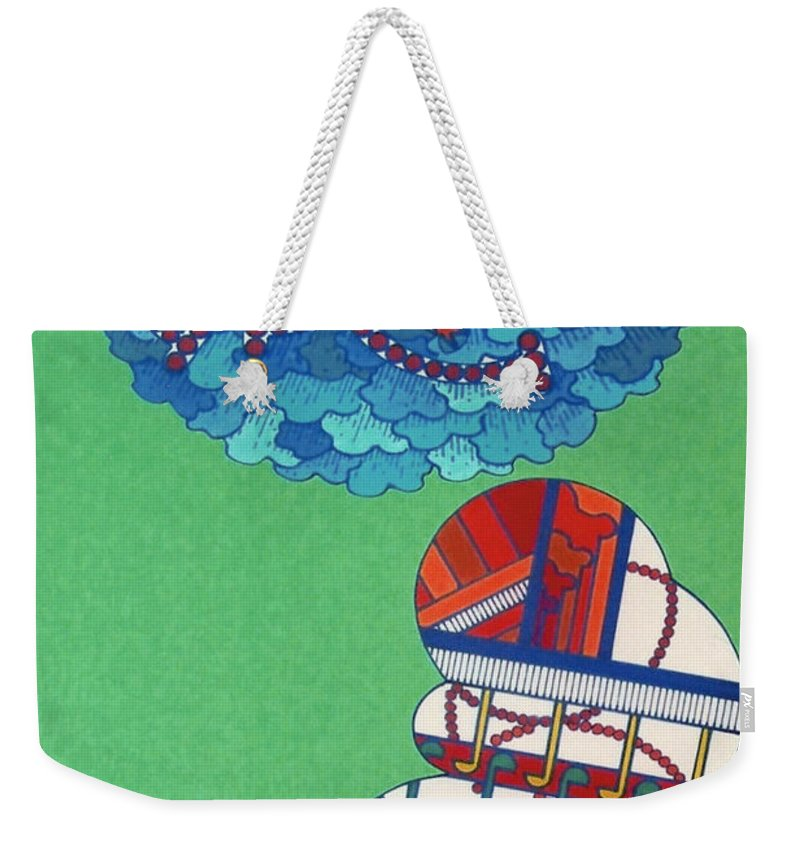 Checker Board Abstract Weekender Tote Bag featuring the drawing Rfb0429 by Robert F Battles