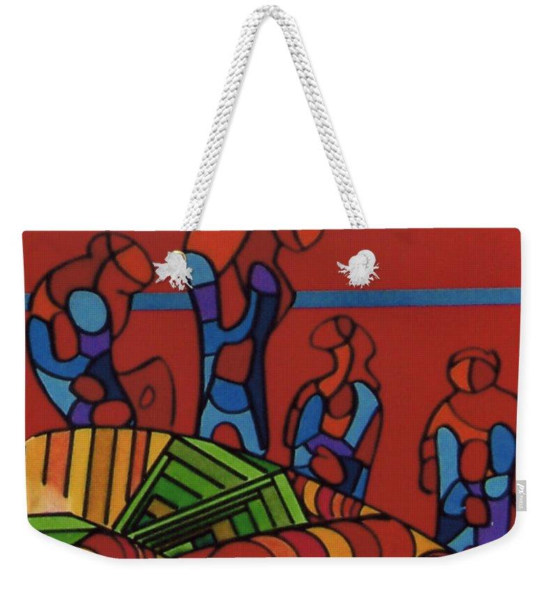 Red Wonderers Weekender Tote Bag featuring the drawing Rfb0546 by Robert F Battles