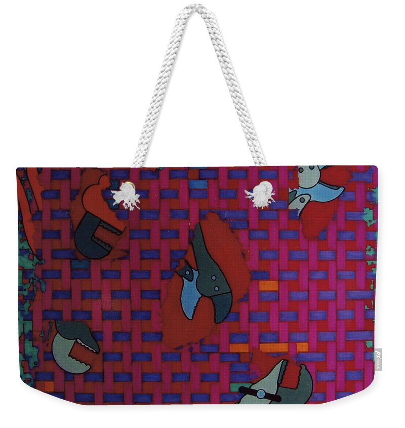 Tool Weave Abstract Weekender Tote Bag featuring the drawing Rfb0638 by Robert F Battles