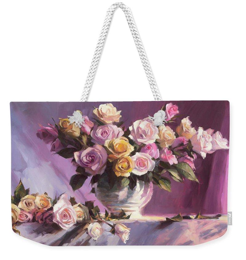 Flower Weekender Tote Bag featuring the painting Rhapsody Of Roses by Steve Henderson