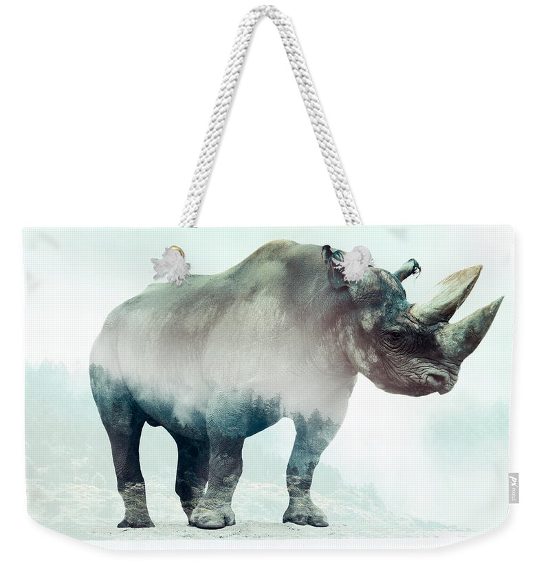 Rhino Double Exposure Weekender Tote Bag featuring the digital art Rhino by Karlo Agfa