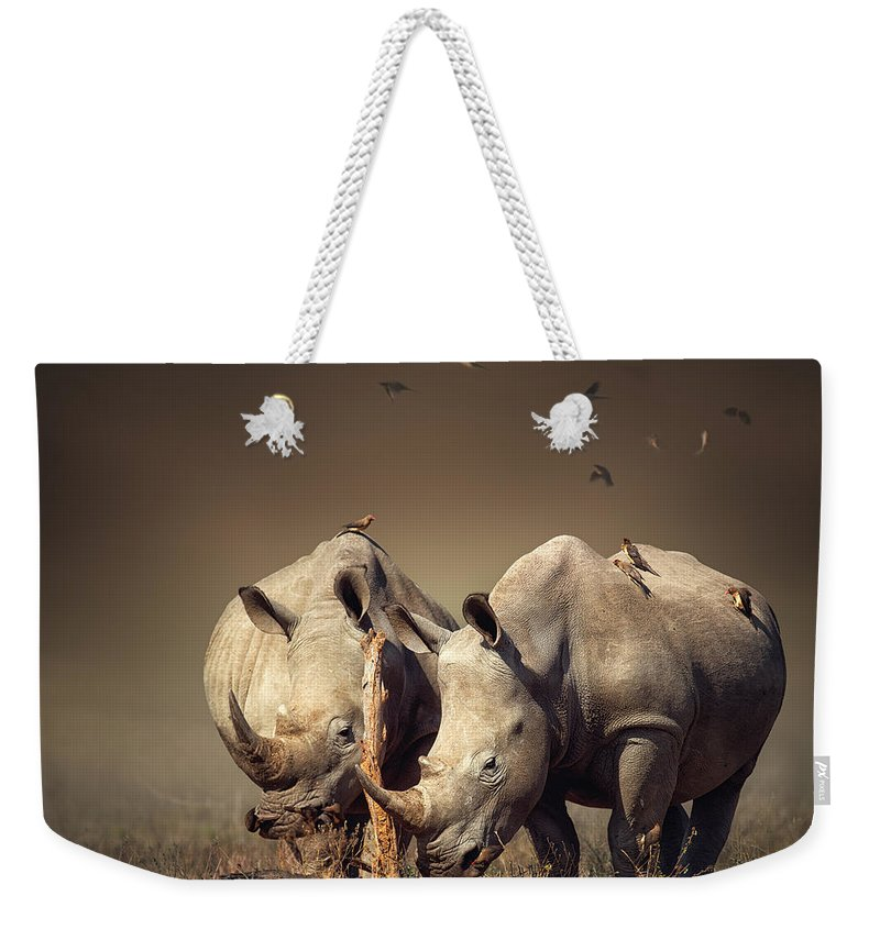 Rhinoceros Weekender Tote Bag featuring the photograph Rhino's With Birds by Johan Swanepoel