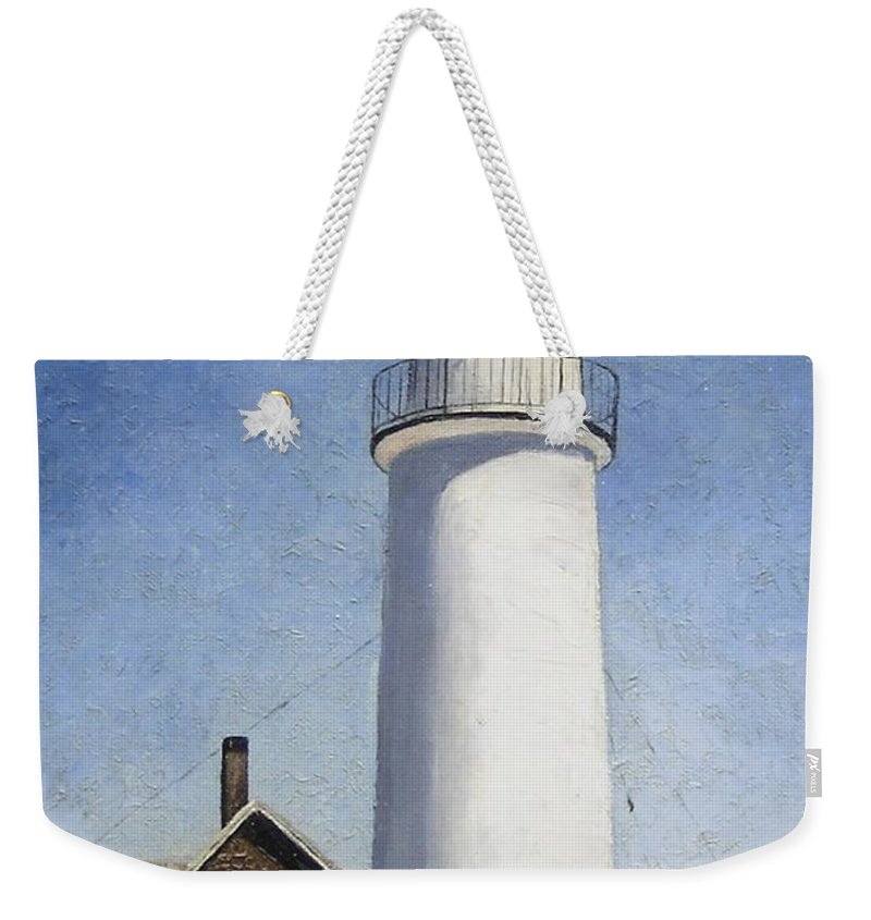 Lighthouse Weekender Tote Bag featuring the painting Cape Cod Light by Mary Rogers