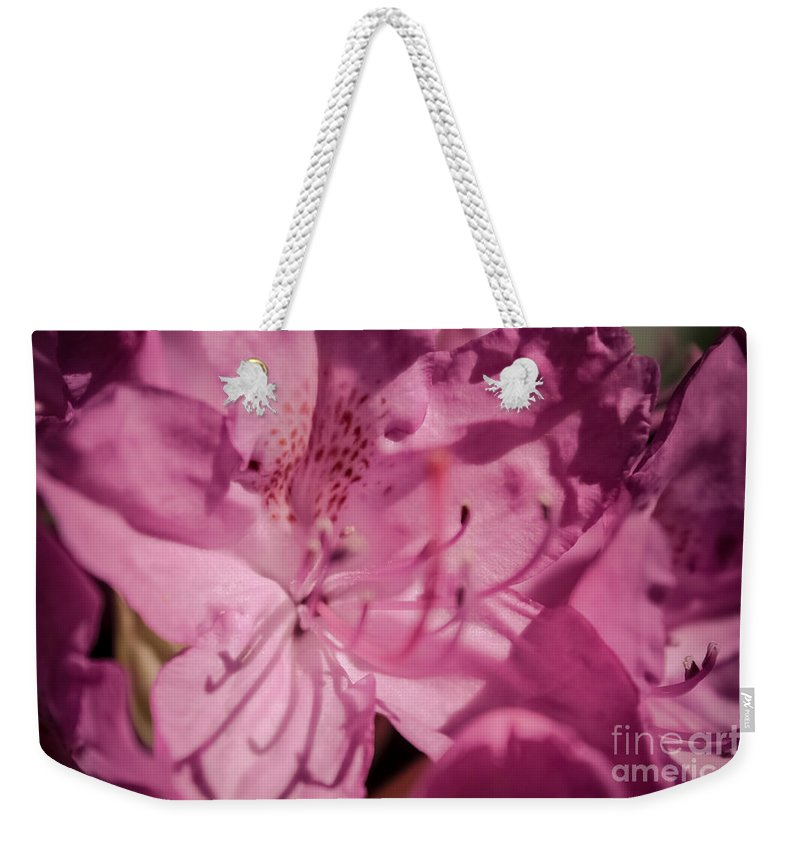 Floral Weekender Tote Bag featuring the photograph Rhododendron-close Up by Claudia M Photography