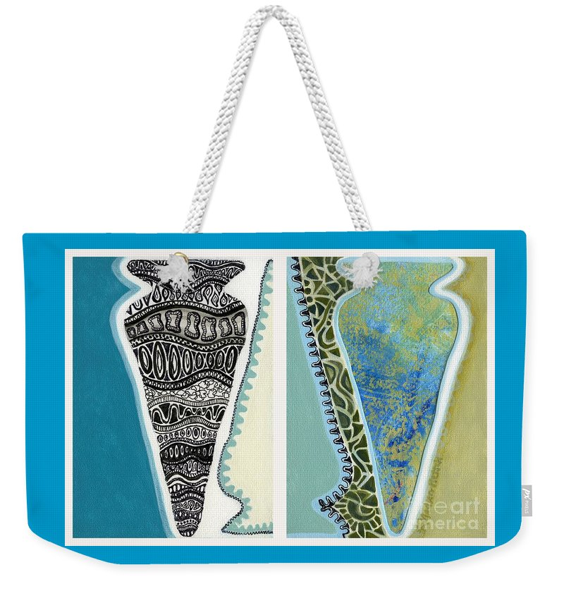 Vessels Weekender Tote Bag featuring the painting Rhythm And Rhyme by Kerryn Madsen-Pietsch