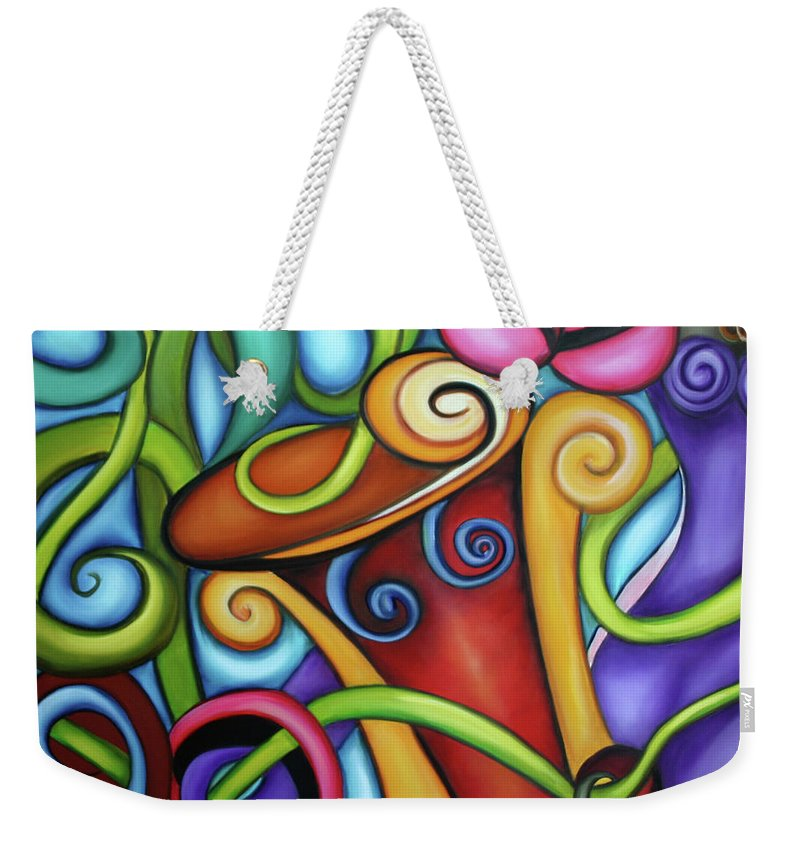 Cuba Weekender Tote Bag featuring the painting Rhythym by Annie Maxwell