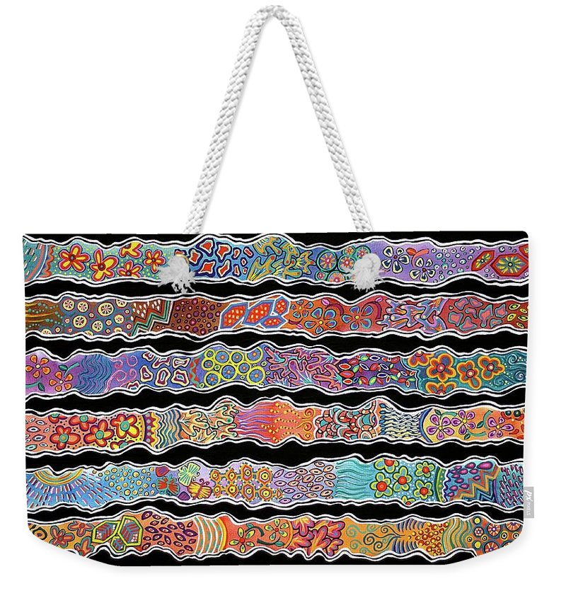 Ribbons Weekender Tote Bag featuring the mixed media Ribbons Of Joy by Lisa Frances Judd