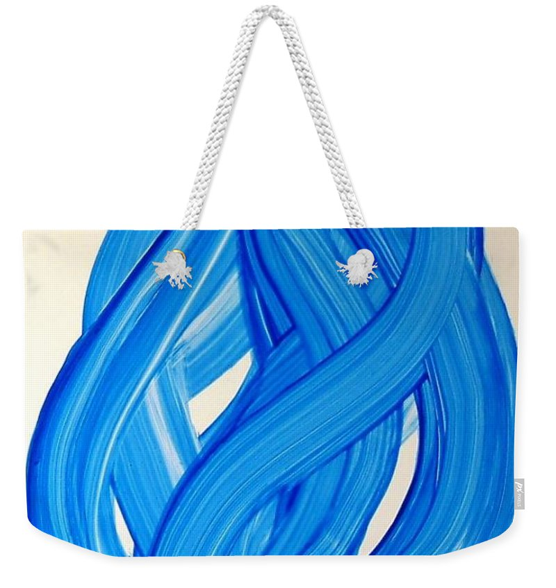 Abstract Modern Contemporary Yupo Art Painting Romantic Pop Blue Weekender Tote Bag featuring the painting Ribbons Of Love-blue by Manjiri Kanvinde