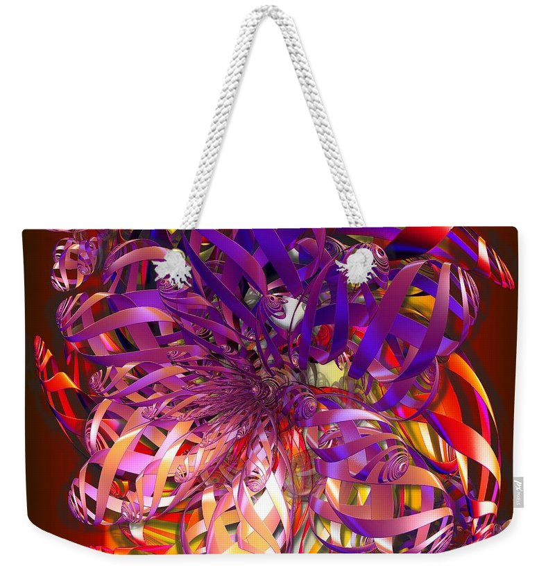 Abstract Weekender Tote Bag featuring the digital art Ribbons by Ron Bissett