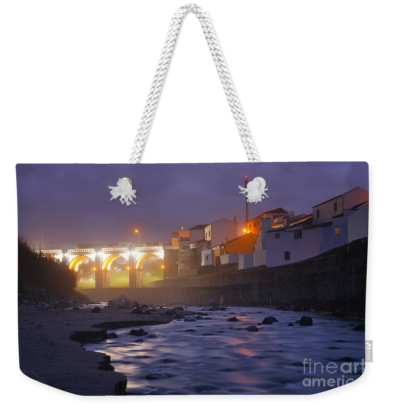 Ribeira Grande Weekender Tote Bag featuring the photograph Ribeira Grande At Night by Gaspar Avila